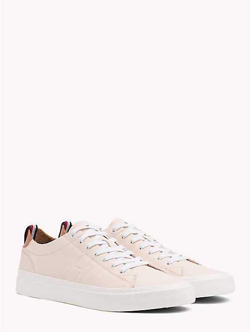 TOMMY HILFIGER Flag Embossed Leather Trainers - SILVER PEONY - TOMMY HILFIGER Summer shoes - main image
