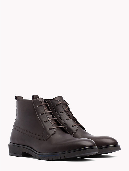 TOMMY HILFIGER Flexible Sole Leather Ankle Boots - COFFEE BEAN - TOMMY HILFIGER Lace-Up Boots - main image