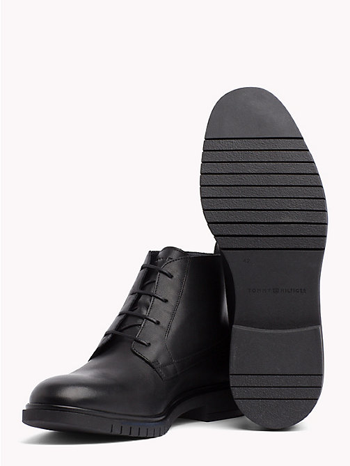 TOMMY HILFIGER Flexible Sole Leather Ankle Boots - BLACK - TOMMY HILFIGER Lace-Up Boots - detail image 1