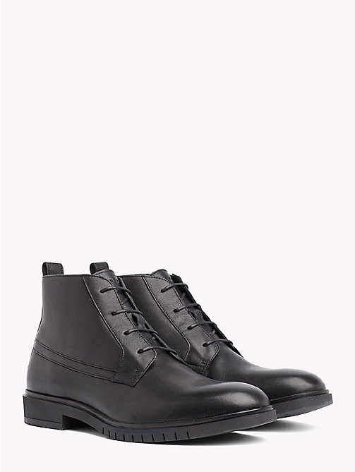 TOMMY HILFIGER Flexible Sole Leather Ankle Boots - BLACK - TOMMY HILFIGER Lace-Up Boots - main image