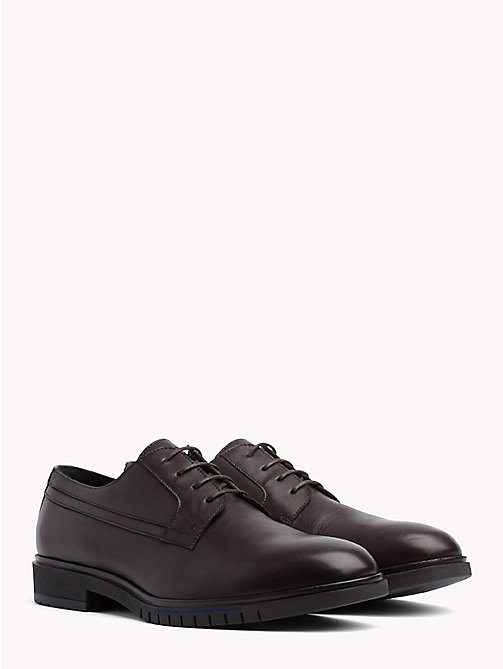 TOMMY HILFIGER Flexible Sole Leather Oxford Shoes - COFFEEBEAN - TOMMY HILFIGER Shoes - main image