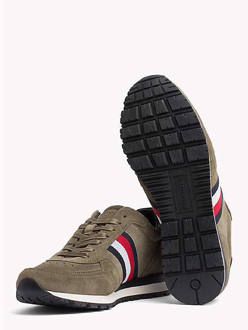 TOMMY HILFIGER Luxury Suede Signature Stripe Trainers - DUSTY OLIVE - TOMMY HILFIGER Shoes - detail image 1