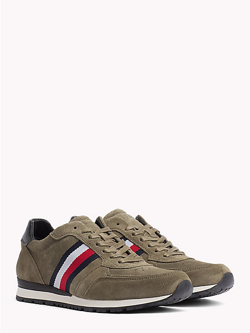 TOMMY HILFIGER Luxury Suede Signature Stripe Trainers - DUSTY OLIVE - TOMMY HILFIGER Shoes - main image