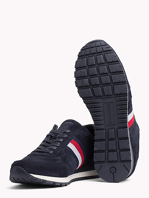 TOMMY HILFIGER Luxury Suede Signature Stripe Trainers - MIDNIGHT - TOMMY HILFIGER NEW IN - detail image 1