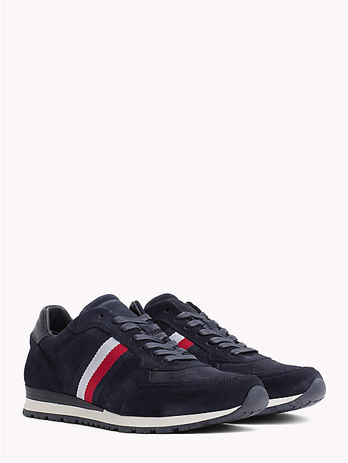 TOMMY HILFIGER Luxury Suede Signature Stripe Trainers - MIDNIGHT - TOMMY HILFIGER Best Sellers - main image