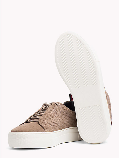 TOMMY HILFIGER Suede Lace Up Cupsole Trainers - TAUPE - TOMMY HILFIGER NEW IN - detail image 1