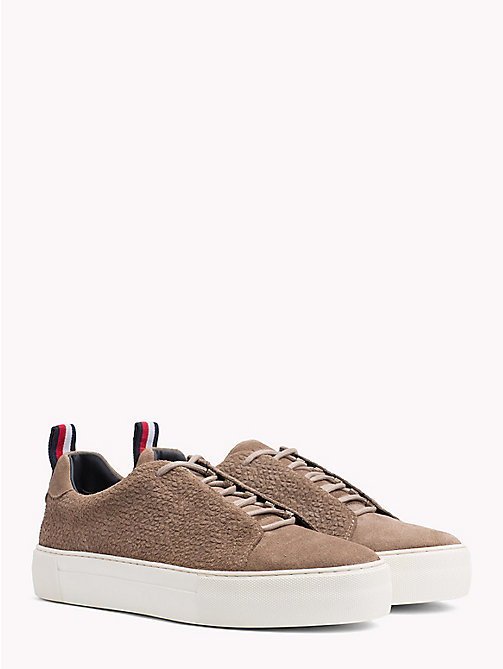 TOMMY HILFIGER Suede Lace Up Cupsole Trainers - TAUPE - TOMMY HILFIGER NEW IN - main image