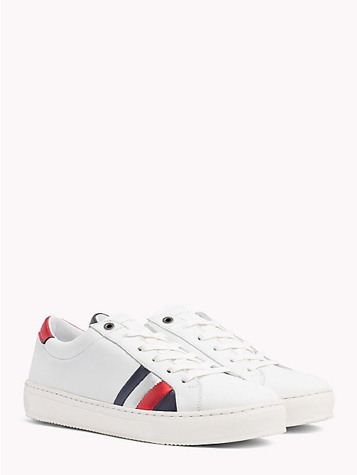 TOMMY HILFIGER Leather Flag Trainers - WHITE - TOMMY HILFIGER Best Sellers - main image