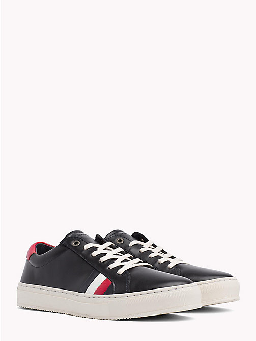 TOMMY HILFIGER Leather Flag Trainers - BLACK - TOMMY HILFIGER NEW IN - main image