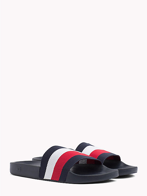 TOMMY HILFIGER Klapki w paski - MIDNIGHT - TOMMY HILFIGER Summer shoes - main image