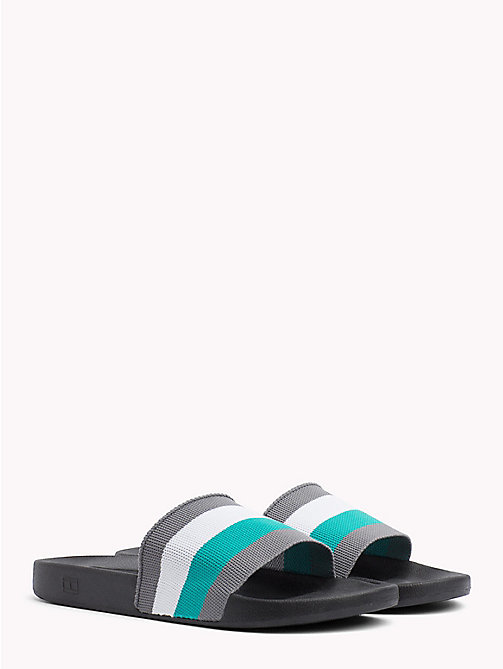 TOMMY HILFIGER Stripe Pool Sliders - BLACK - TOMMY HILFIGER Shoes - main image