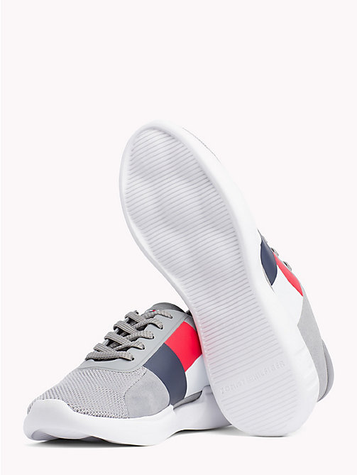 TOMMY HILFIGER Colour-Blocked Lightweight Runners - LIGHT GREY - TOMMY HILFIGER Trainers - detail image 1