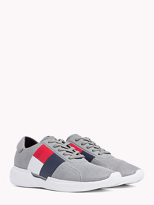 TOMMY HILFIGER Colour-Blocked Lightweight Runners - LIGHT GREY - TOMMY HILFIGER Trainers - main image