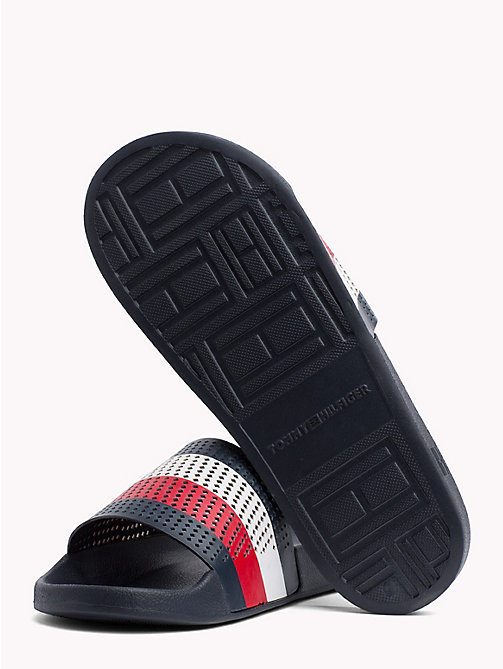 TOMMY HILFIGER Perforated Flag Pool Slides - MIDNIGHT - TOMMY HILFIGER Sandals & Flip Flops - detail image 1