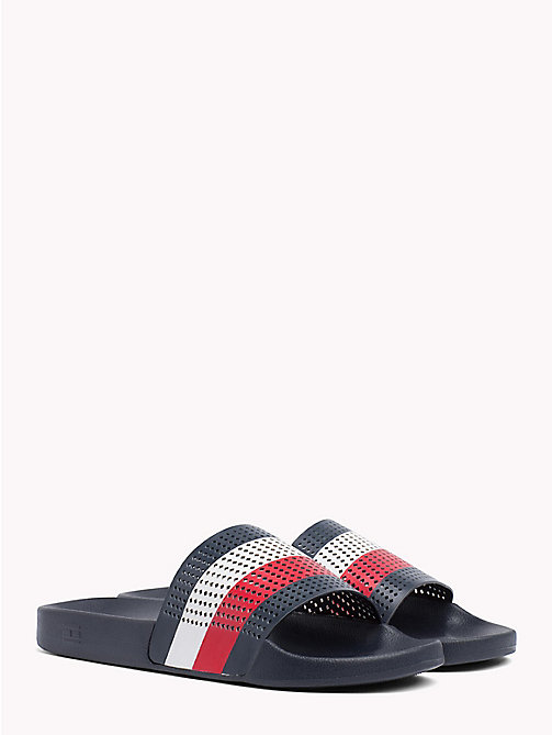 TOMMY HILFIGER Perforated Flag Pool Slides - MIDNIGHT - TOMMY HILFIGER Sandals & Flip Flops - main image