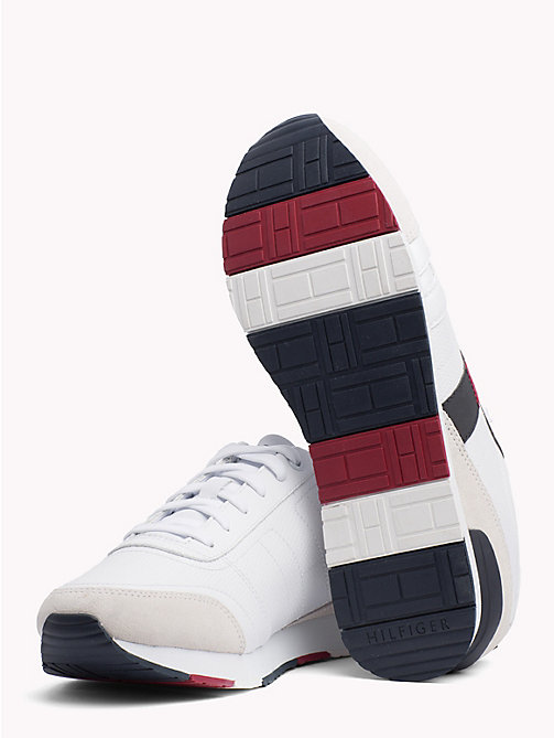 TOMMY HILFIGER Baskets colour-block en daim - WHITE - TOMMY HILFIGER Chaussures - image détaillée 1