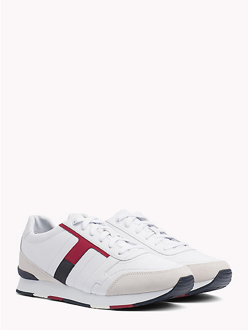 TOMMY HILFIGER Colour-Blocked Suede Trainers - WHITE - TOMMY HILFIGER Trainers - main image