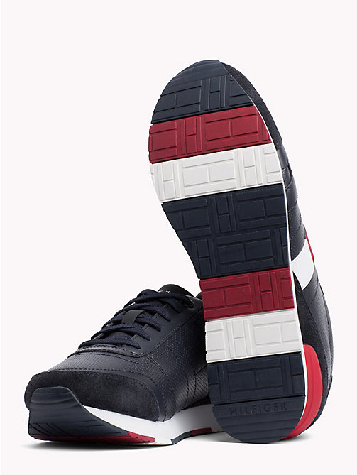 TOMMY HILFIGER Colour-Blocked Suede Trainers - MIDNIGHT - TOMMY HILFIGER Shoes - detail image 1