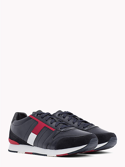 TOMMY HILFIGER Colour-Blocked Suede Trainers - MIDNIGHT -  Shoes - main image