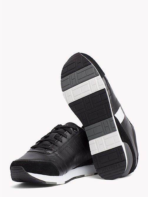 TOMMY HILFIGER Colour-Blocked Suede Trainers - BLACK - TOMMY HILFIGER Trainers - detail image 1