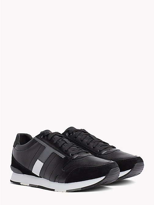 TOMMY HILFIGER Colour-blocked suède sneaker - BLACK - TOMMY HILFIGER Sneakers - main image