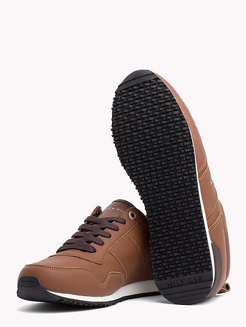 TOMMY HILFIGER Classic Leather Running Trainers - WINTER COGNAC - TOMMY HILFIGER Trainers - detail image 1
