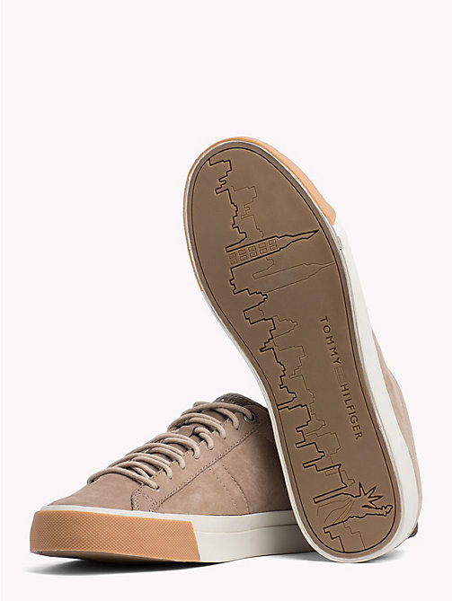 TOMMY HILFIGER Low-Rise Leather Trainers - TAUPE GREY - TOMMY HILFIGER Shoes - detail image 1