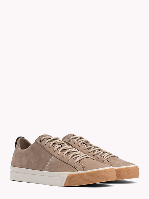 TOMMY HILFIGER Low-Rise Leather Trainers - TAUPE GREY - TOMMY HILFIGER Shoes - main image