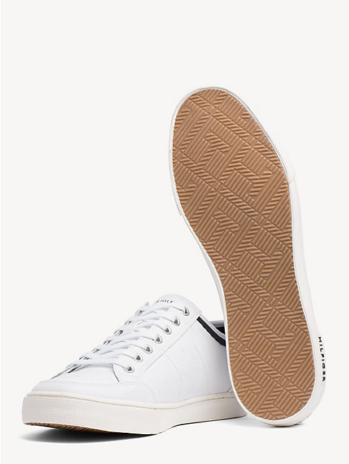 TOMMY HILFIGER Perforated Leather Trainers - WHITE - TOMMY HILFIGER Shoes - detail image 1