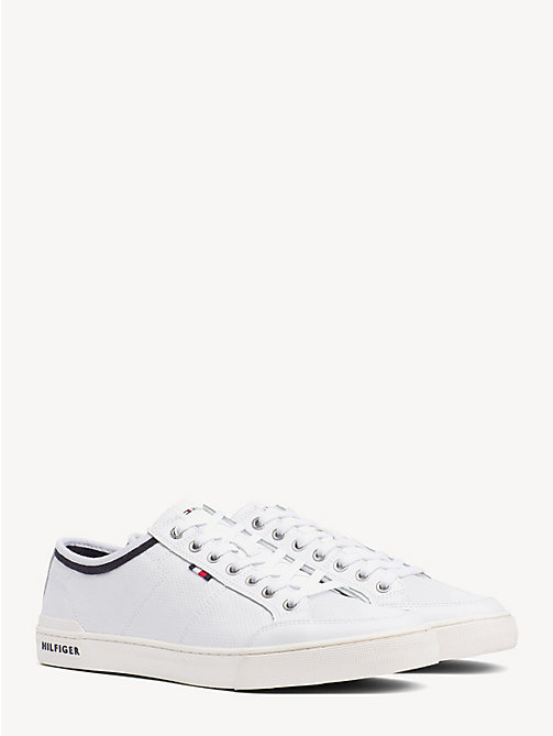 TOMMY HILFIGER Perforated Leather Trainers - WHITE - TOMMY HILFIGER Shoes - main image