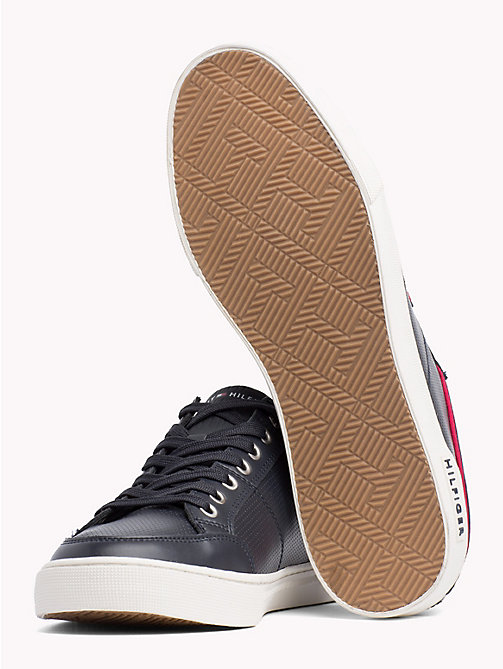 TOMMY HILFIGER Perforated Leather Trainers - MIDNIGHT - TOMMY HILFIGER Shoes - detail image 1