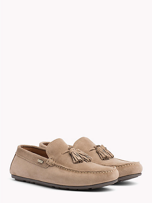 TOMMY HILFIGER Mocassini con nappine in suede - TAUPE GREY - TOMMY HILFIGER Mocassini - immagine principale