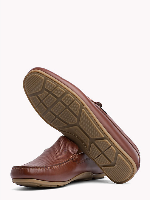 TOMMY HILFIGER Embossed Leather Loafers - BRANDY - TOMMY HILFIGER Loafers & Boat Shoes - detail image 1