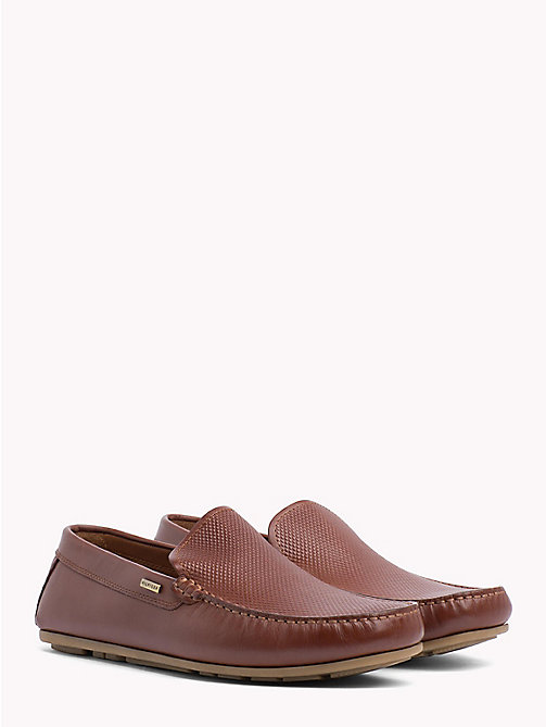 TOMMY HILFIGER Embossed Leather Loafers - BRANDY - TOMMY HILFIGER Loafers & Boat Shoes - main image