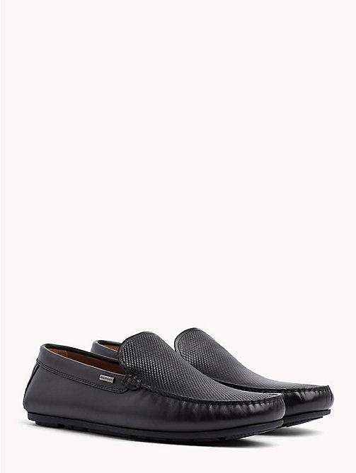 TOMMY HILFIGER Embossed Leather Loafers - BLACK - TOMMY HILFIGER Loafers & Boat Shoes - main image
