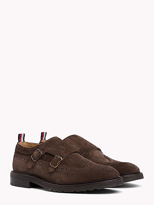 TOMMY HILFIGER Monk Strap Suede Shoes - COFFEEBEAN - TOMMY HILFIGER Formal Shoes - main image