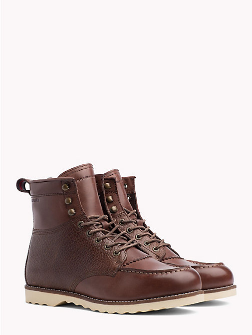 TOMMY HILFIGER Leather Lace-Up Work Boots - COFFEE - TOMMY HILFIGER Lace-Up Boots - main image