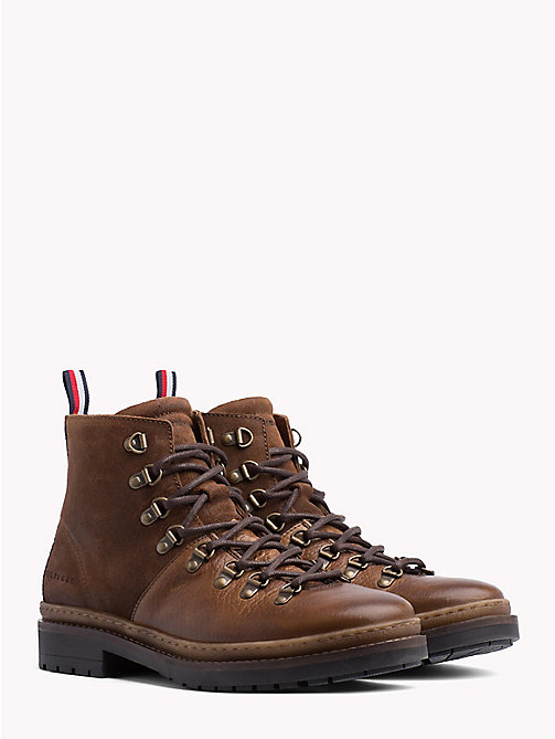 TOMMY HILFIGER Multi-Textured Hiking Boots - COGNAC - TOMMY HILFIGER Lace-Up Boots - main image