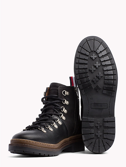 TOMMY HILFIGER Multi-Textured Hiking Boots - BLACK - TOMMY HILFIGER Lace-Up Boots - detail image 1