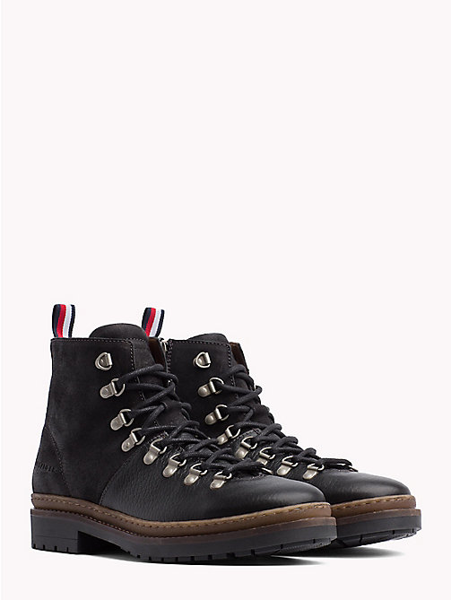 TOMMY HILFIGER Multi-Textured Hiking Boots - BLACK - TOMMY HILFIGER Lace-Up Boots - main image