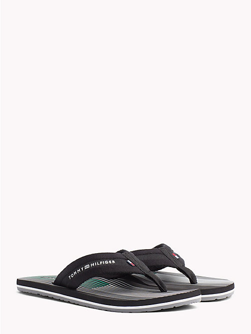 TOMMY HILFIGER Stripe Flip Flops - BLACK - TOMMY HILFIGER NEW IN - main image