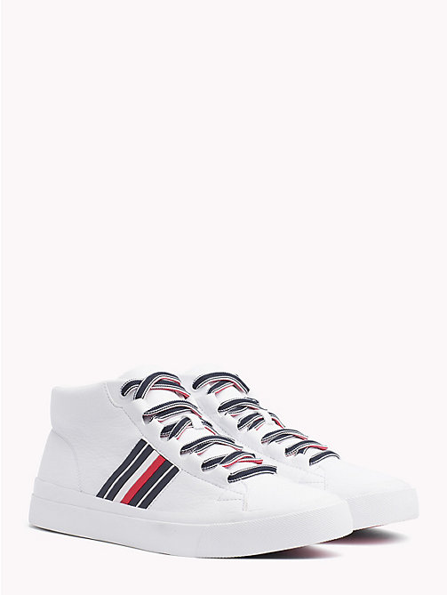 TOMMY HILFIGER Signature Tape Pure Leather Trainers - WHITE - TOMMY HILFIGER NEW IN - main image