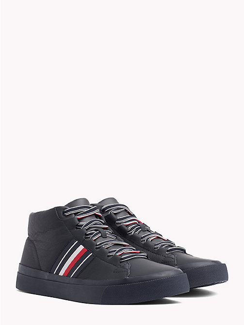 TOMMY HILFIGER Signature Tape Pure Leather Trainers - MIDNIGHT - TOMMY HILFIGER NEW IN - main image