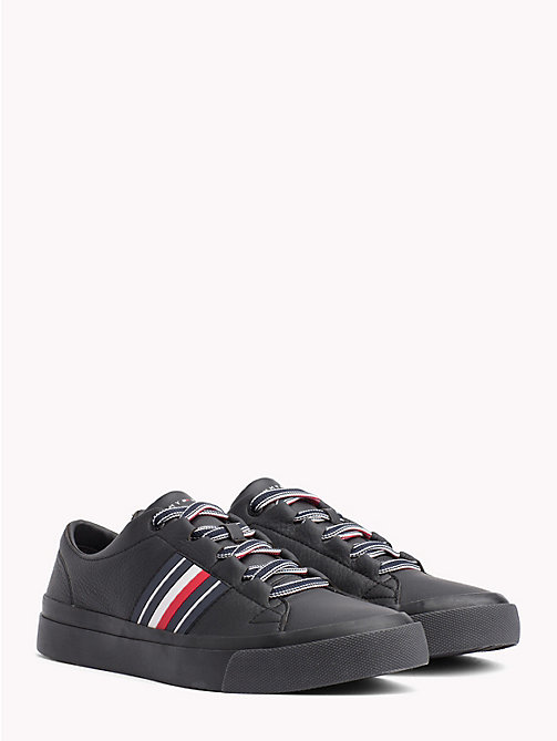 TOMMY HILFIGER Signature Leather Trainers - BLACK - TOMMY HILFIGER NEW IN - main image