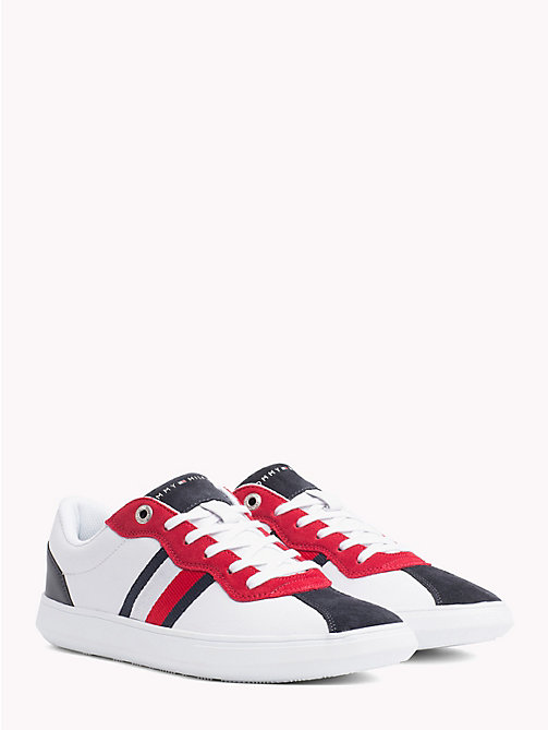 TOMMY HILFIGER Signature Contrast Panel Leather Trainers - RWB - TOMMY HILFIGER Trainers - main image