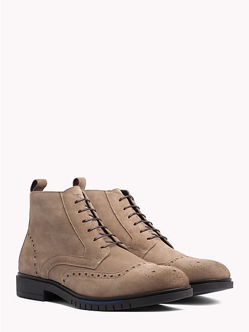TOMMY HILFIGER Flexible Suede Brogue Boots - TAUPE - TOMMY HILFIGER Lace-Up Boots - main image