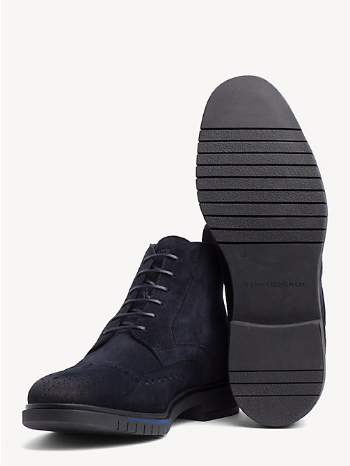 TOMMY HILFIGER Flexible Suede Brogue Boots - MIDNIGHT - TOMMY HILFIGER NEW IN - detail image 1