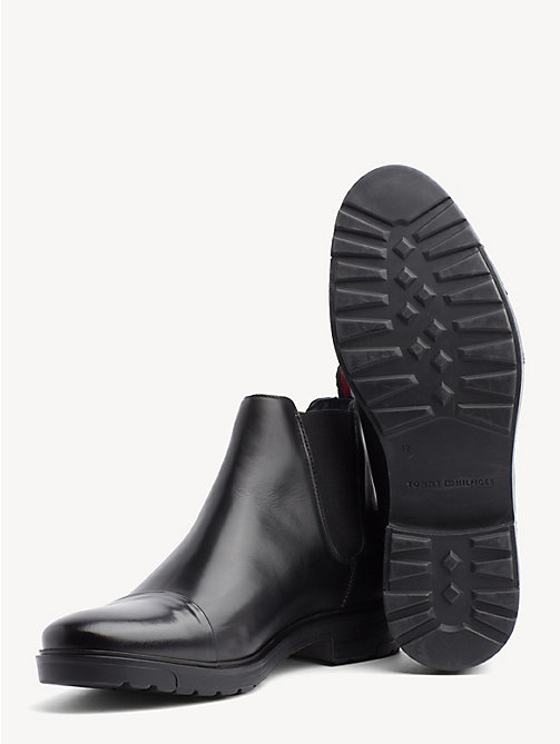 TOMMY HILFIGER Elevated Leather Ankle Boots - BLACK - TOMMY HILFIGER NEW IN - detail image 1