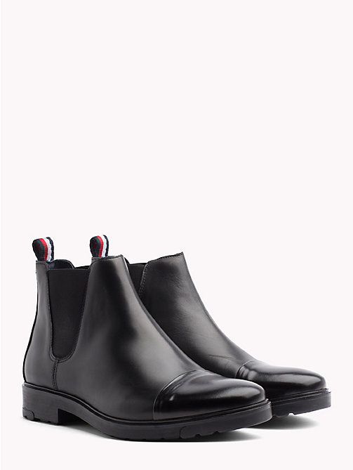 TOMMY HILFIGER Elevated Leather Ankle Boots - BLACK - TOMMY HILFIGER NEW IN - main image