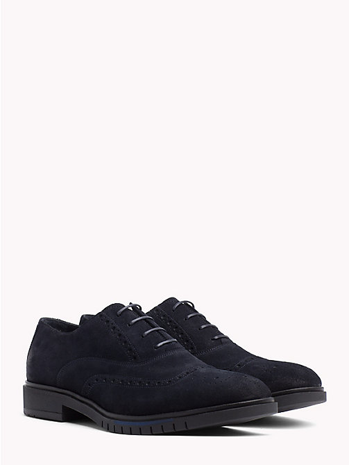 TOMMY HILFIGER Flexible Lace-Up Suede Brogues - MIDNIGHT - TOMMY HILFIGER NEW IN - main image